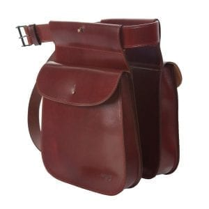 Bolsa de ojeo con solapa fabricada en cuero de máxima calidad curtido al vegetal