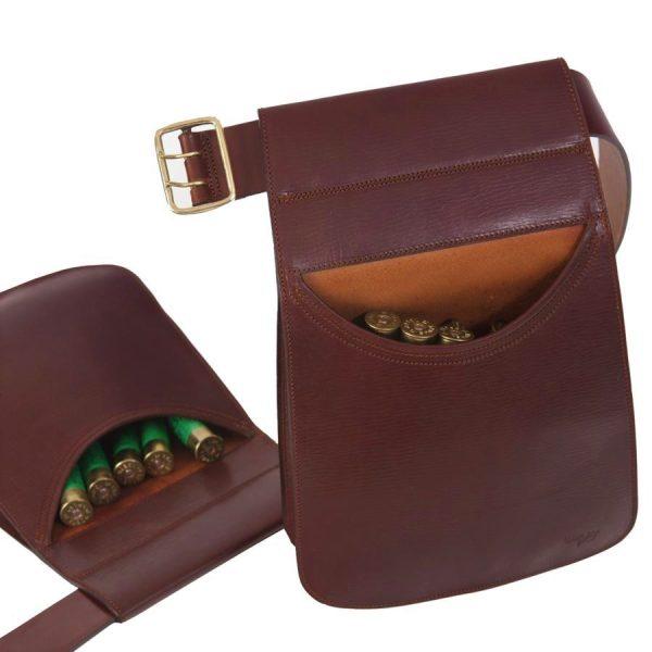 Bolsa de ojeo rectangular fabricadas en cuero curtido al vegetal