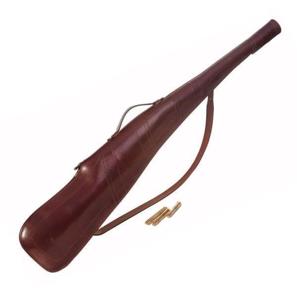 Funda de rifle sin visor fabricada en cuero curtido al vegetal