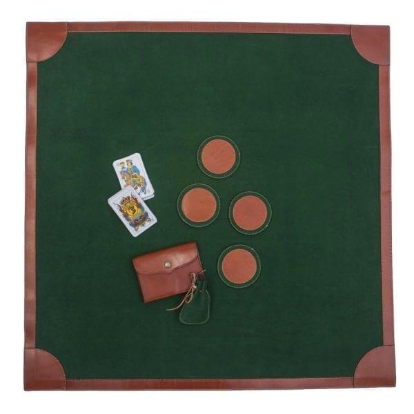Tapete para juegos de mesa en piel de ante y cuero